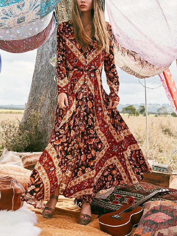 Summer Print Long Sleeve Bohemia Beach Maxi Long Dress