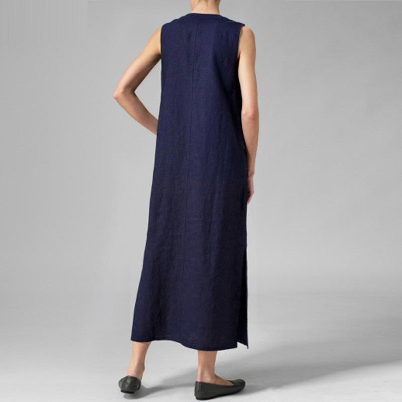Solid Color Sleeveless Button Loose Maxi Dress