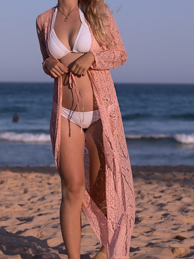 Solid Color Lace Beach Holiday Long Dress Cover Up