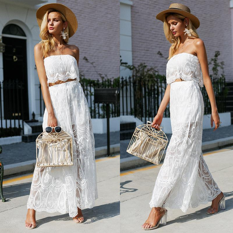 White Lace Tubes Wide Leg Pants 2 Pieces Set