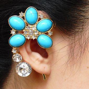 Boho Resin Crystal Flower Cuff Ear Hook Earring