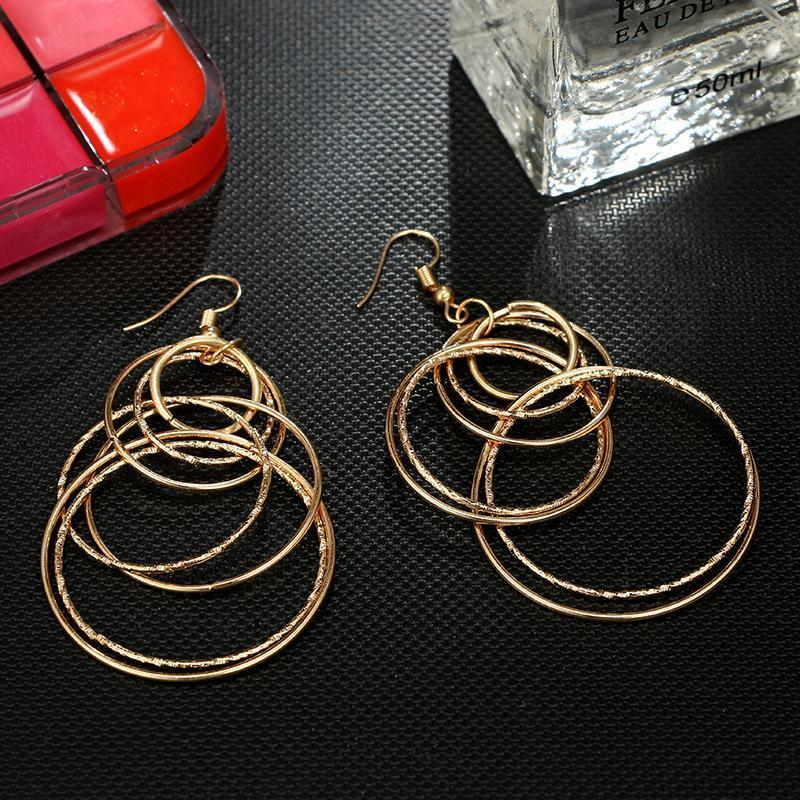 Retro Large Circular Earrings Geometric Long Earrings Jewelry