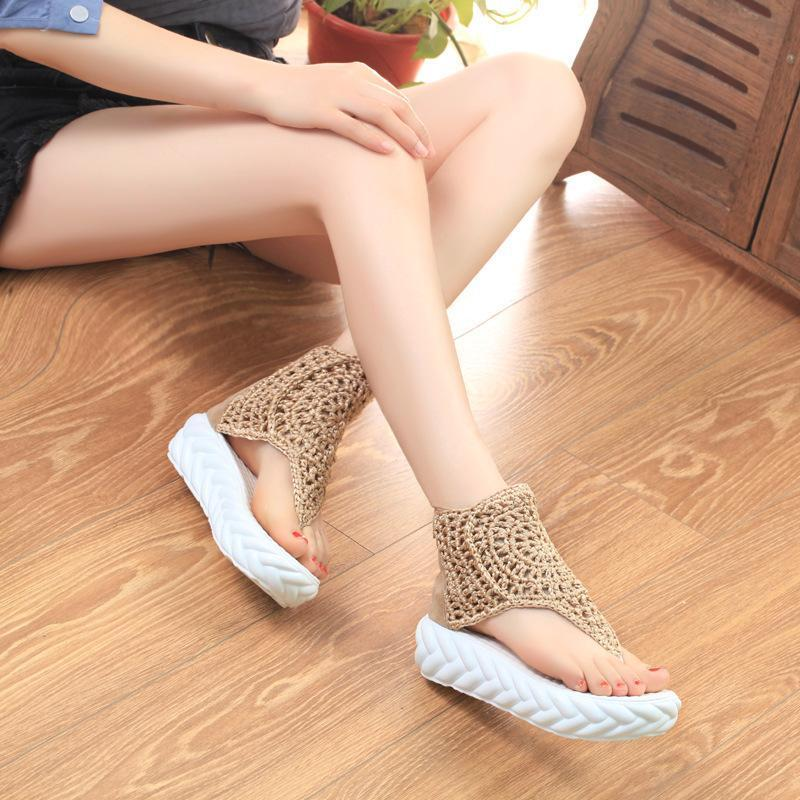 Thick-Bottomed Muffin High-Top Casual Retro Clip Toe Shoes