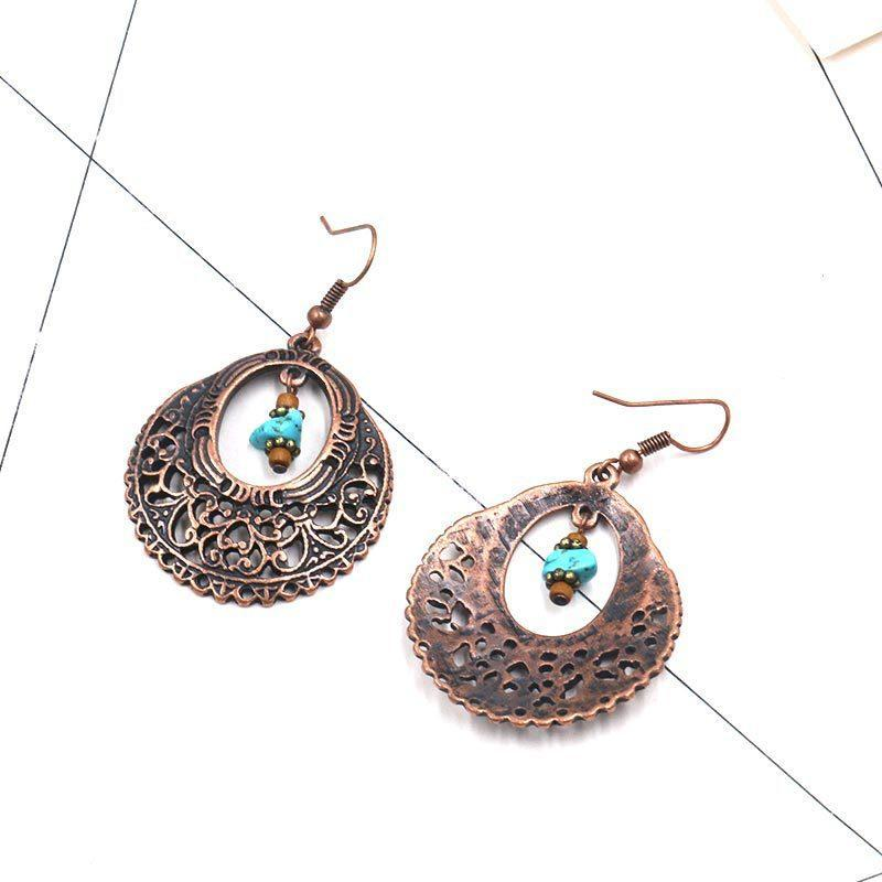 Vintage Turquoise Alloy Openwork Round Flowers Earrings