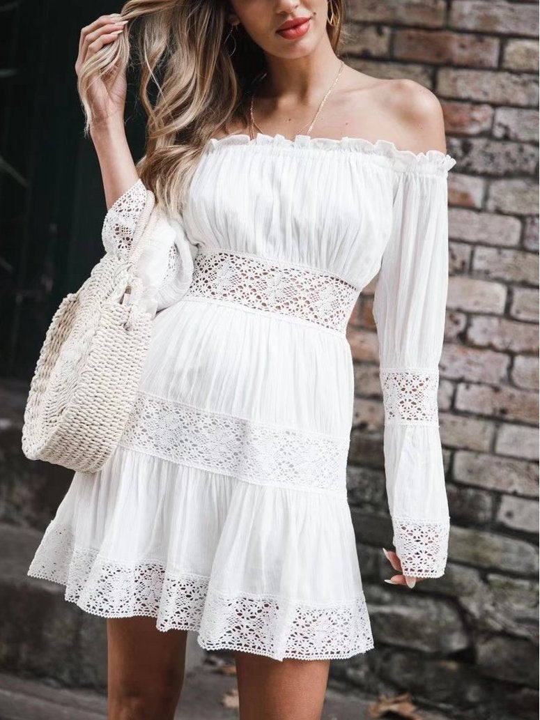 Summer Off-The-Shoulder Trumpet Sleeves Sexy Lace Cutout Mini Dress