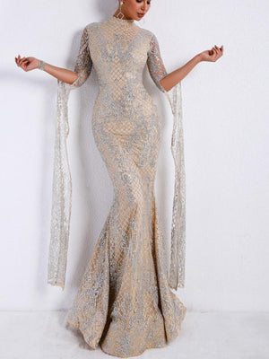 Silver High Collar Long Sleeve Flash Dusting Elegant Red Carpet Maxi Dress