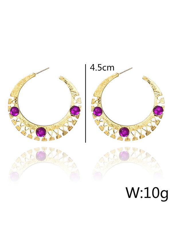 Vintage Carving Alloy U Basket Hollow Earrings