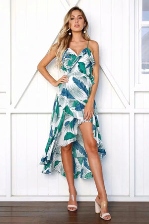 Spaghetti Strap Print Irregular Beach Maxi Dress