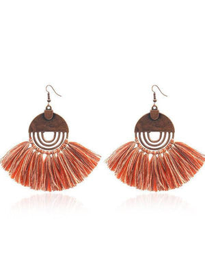 Boho Retro Personality Tassel Copper Jewelry Earrings