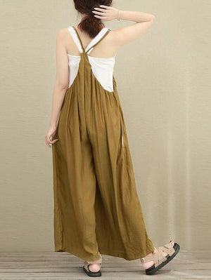 Solid Color Linen Cotton Loose Wide Leg Pants Jumpsuit
