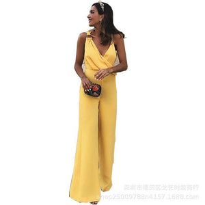 Summer Elegant Sleeveless V-neck Solid Color Jumpsuit