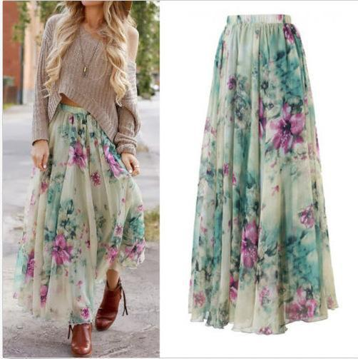 Boho Floral Summer Chiffon Beach Skirts