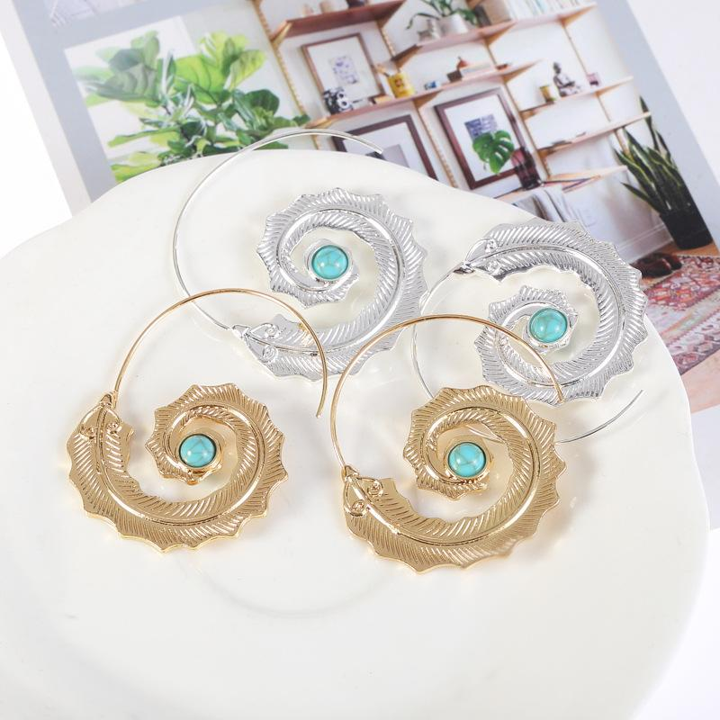 Unique Spiral Leaf with Green Rhinestone Earrings Jewelry