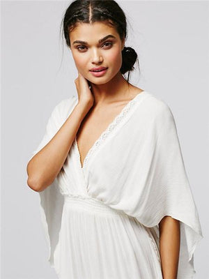 V Neck Short Sleeve High Waist Loose Maxi Dress