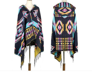 Tibetan Nepalese National Cloak Shawl Thick Hooded bohemian Scarf