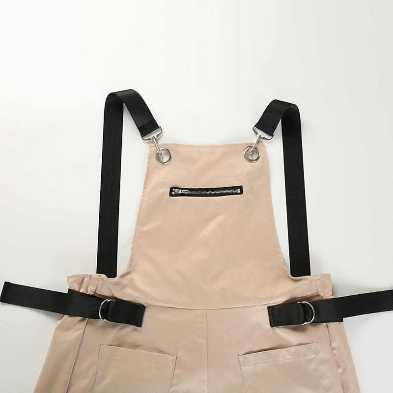 Khaki Zipper Bib with Pockets Fashion Casual Sexy Long Jumpsuits