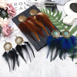 Round long feather tassel earrings