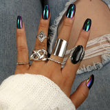 Exaggerated Big Black Stone Boho Antique Silver Knuckle Rings Set