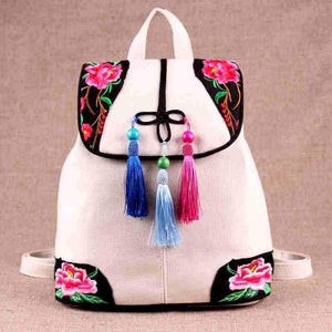 Ethnic Style Floral Embroideried String Tassel Canvas Backpack