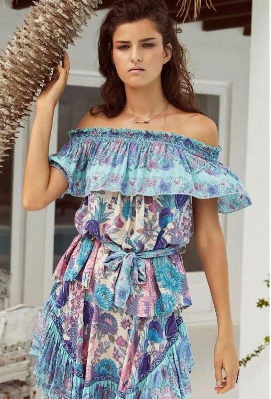 Vintage Floral Loose Irregular High Waist Beach Mini Dress