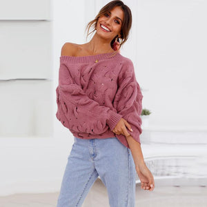 Solid Color Off The Shoulder Loose Casual Knit Sweater