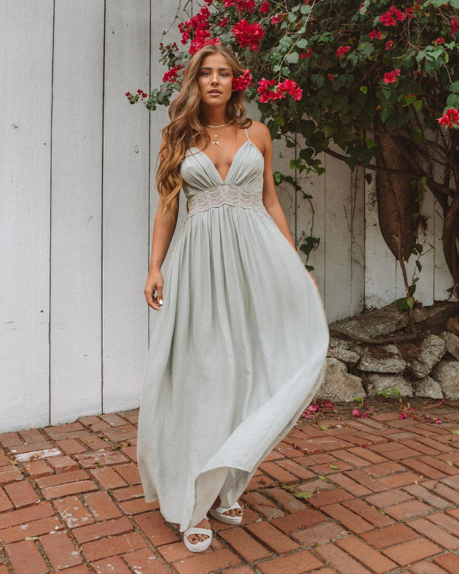 Solid Color Deep V Neck Evening Maxi Dress