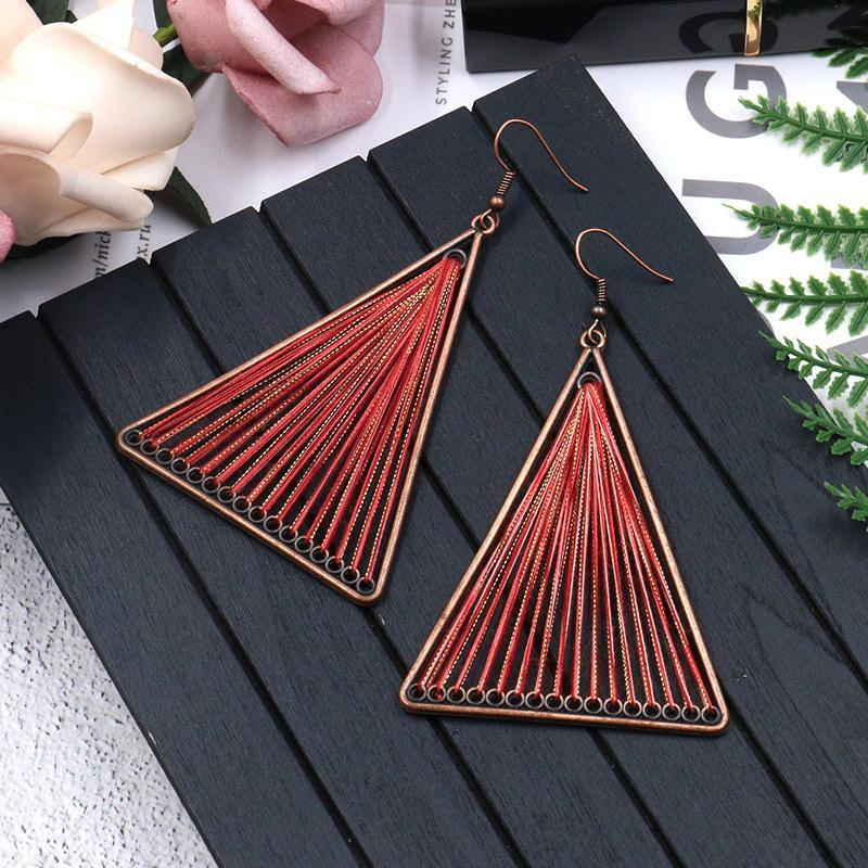 Geometric Triangle Fabric Gold Thread Tassel Earrings - Voguetide