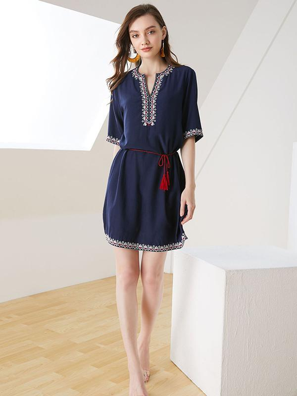 Casual V-neck Ethnic Style Print Short-Sleeved Tassel A-line Mini Dress