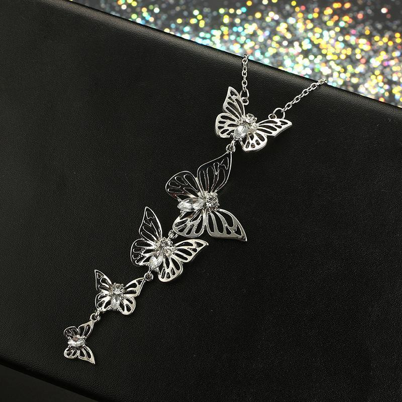 Stylish Butterfly Shape Hollow Alloy Diamond Necklaces Accessories