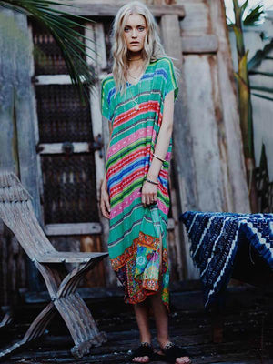 Colorful V-neck Stripes Short Sleeves Maxi Dress