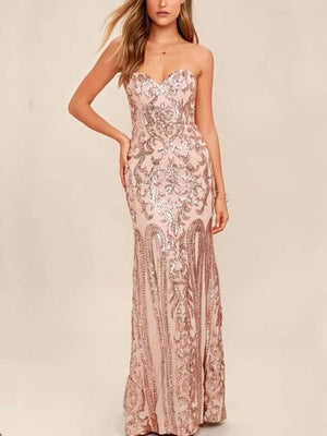 Strapless Sequins Long Dress