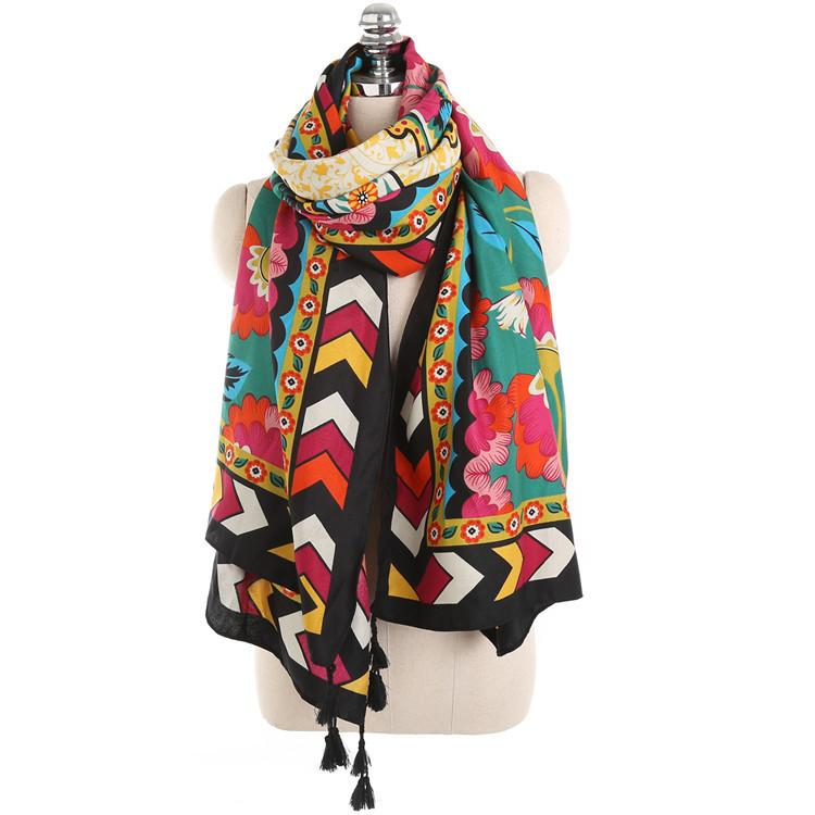 Vinatge Ethnic Geometric Flowers Joker Warm Cotton Scarf