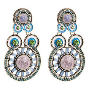 Exaggerated Diamonds Ripples Ethnic Style Bohemian Style Earrings - Voguetide