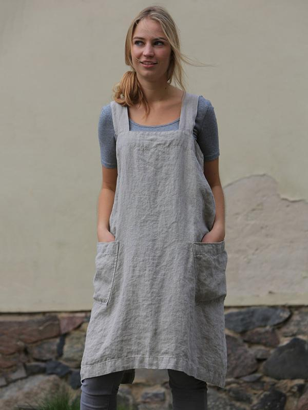 Casual Linen Pocket-with Simple Mini Dress