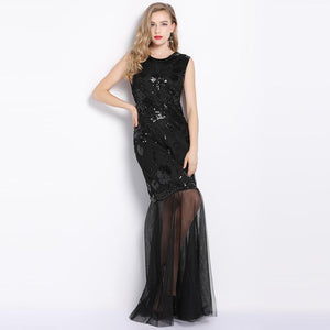 Summer New High-End Luxury Ladies Sleeveless Sequins Beaded Maxi Dress