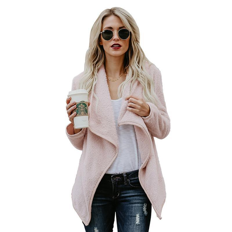 Women Winter Warm Fluffy Solid Color Long Sleeve Outwear