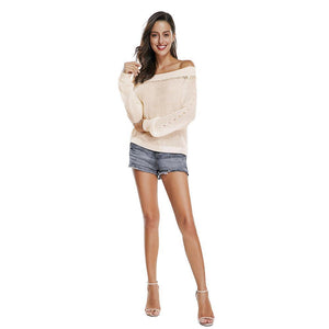 White Off Shoulder Puff Sleeve Autumn Knit Jumper Sweater