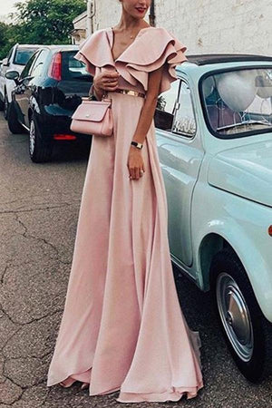 Solid Color V Neck Elegant Evening Party Maxi Dress