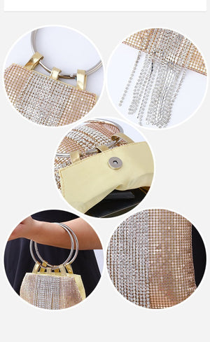 Portable Aluminum Sheets Tassels Evening Bags Banquets Sequins Clutches