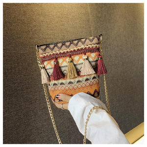 Bohemian National Style Weaving Tassel Bucket Bag Shoulder Bag Crossbody Bag
