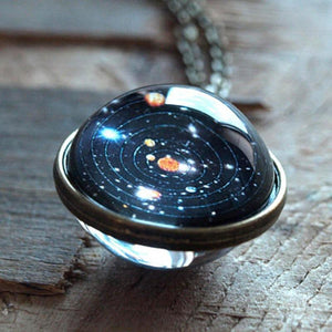Universe Solar System Pendent Double-Sided Glass Ball Necklace