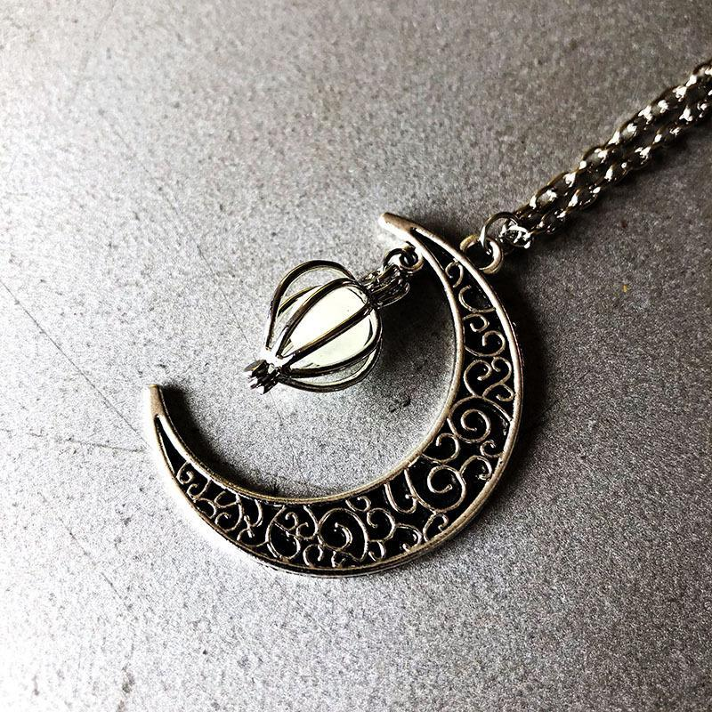 Halloween Hollow Moon Luminous Pendant Necklace - Voguetide
