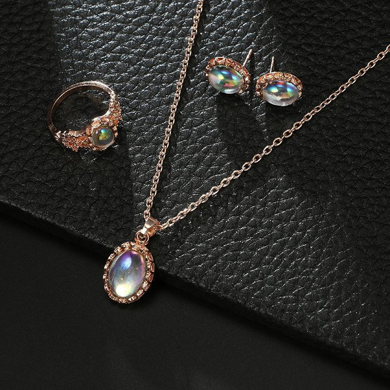 Unique Geometrical Gem Cat Eye Ring Necklace Earrings 3 PCS Set
