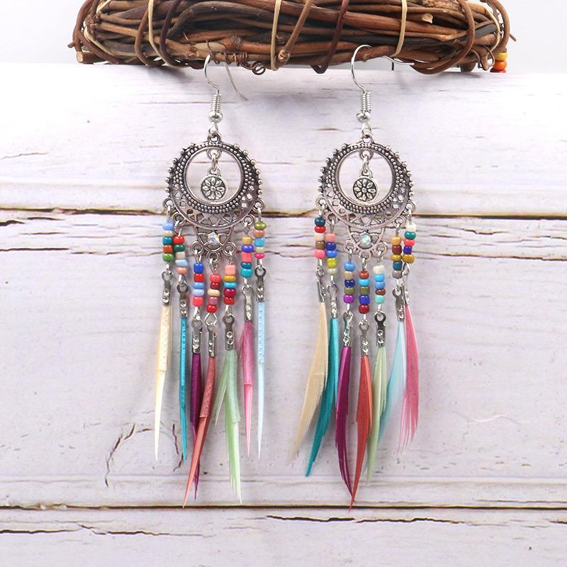 Hollow bohemian colorful little beads feather tassel earrings