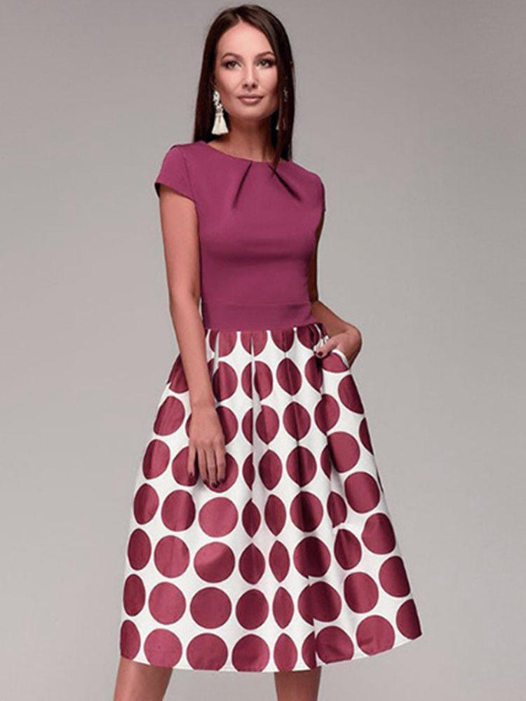 Summer Polka Dot Short Sleeve Evening Midi Dress