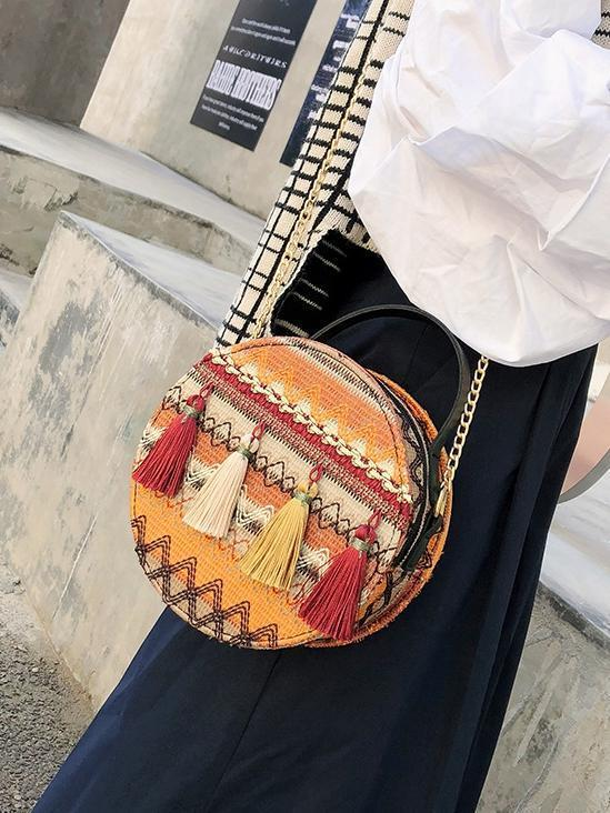 Autumn National Style Contrast Color Tassels One-Shoulder Crossbody Small Round Bag - Voguetide