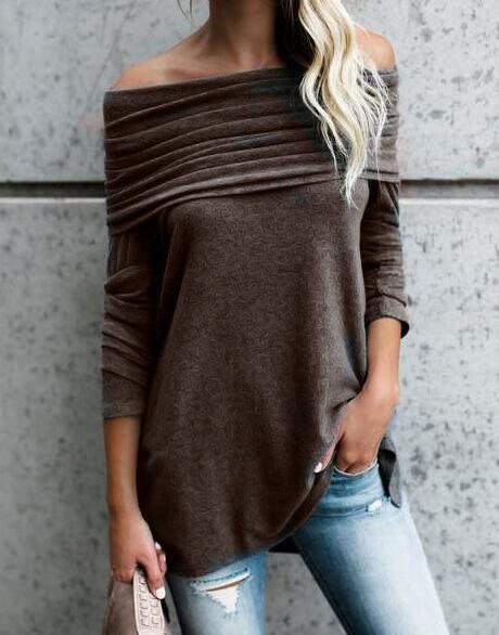 Casual Long Sleeves Ruffled Off-the-shoulder Blouses Tops