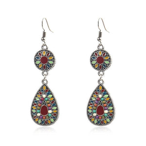 Colorful Inlaid Rice Beads Drop Earrings - Voguetide