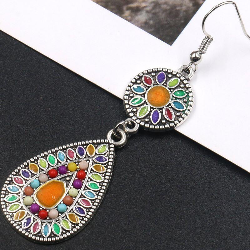 Colorful Inlaid Rice Beads Drop Earrings