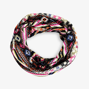 Baggy Slouchy Four Seasons Cotton Geometric Pattern Adult Hat Infinity Scarf - Voguetide